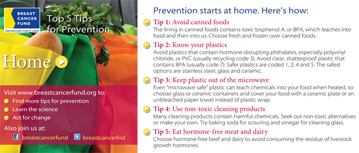 Tips for breast cancer prevention: Create a healthy home